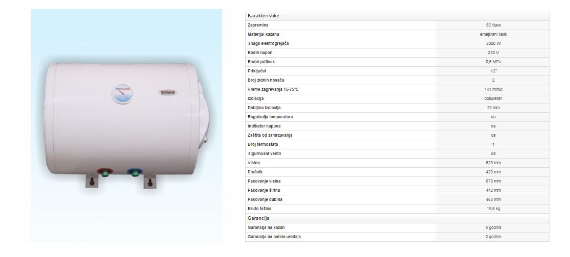 1. Emajlirani bojler 50 litara horizontalni (zid)