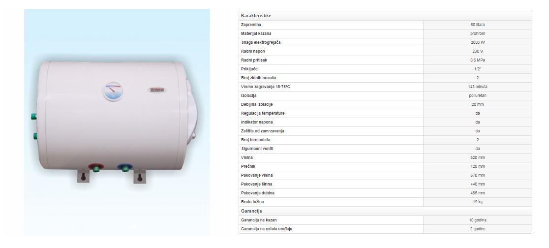 1. Prohromski bojler 50 litara horizontalni sa izmenjivačem toplote (zid)