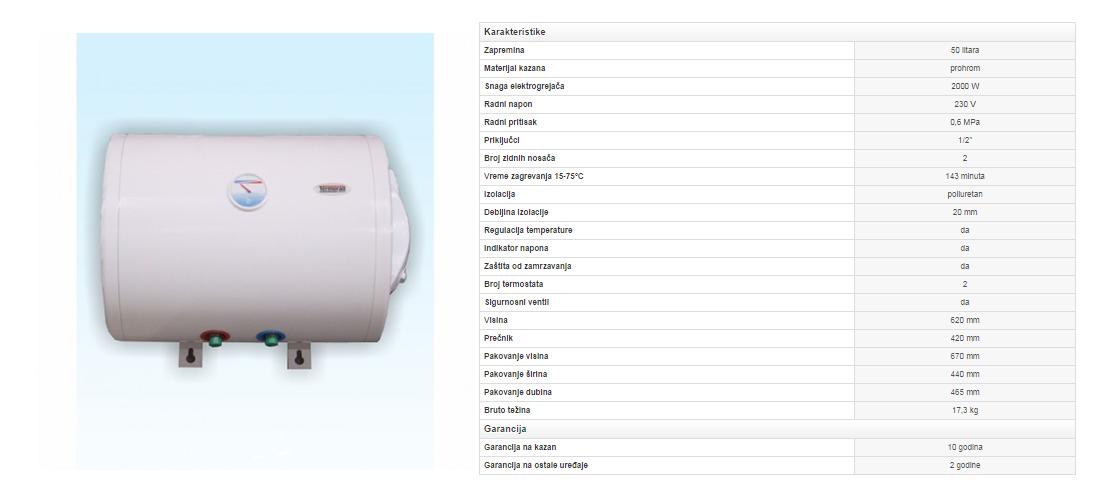 1. Prohromski bojler 50 litara (zid)