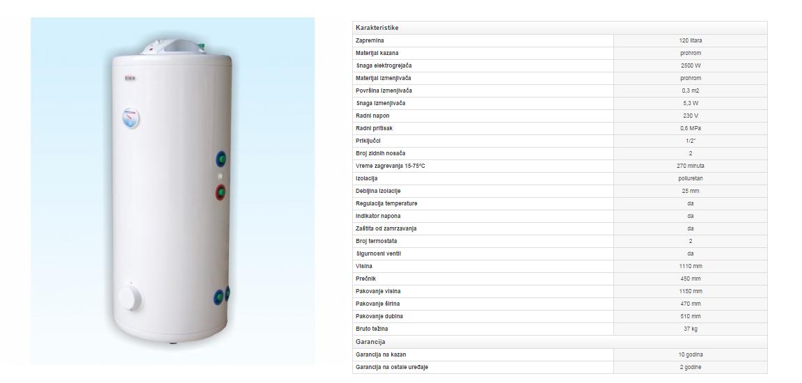 10. Prohromski bojler 120 litara sa izmenjivačem toplote stojećí (desni)