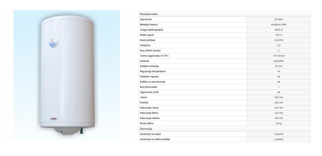 2. Emajlirani bojler 80 litara Classic