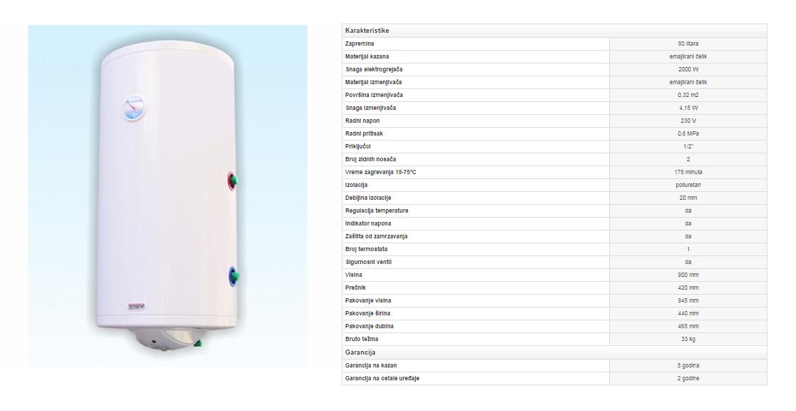 2. Emajlirani bojler 80 litara sa izmenjivačem toplote (desni)