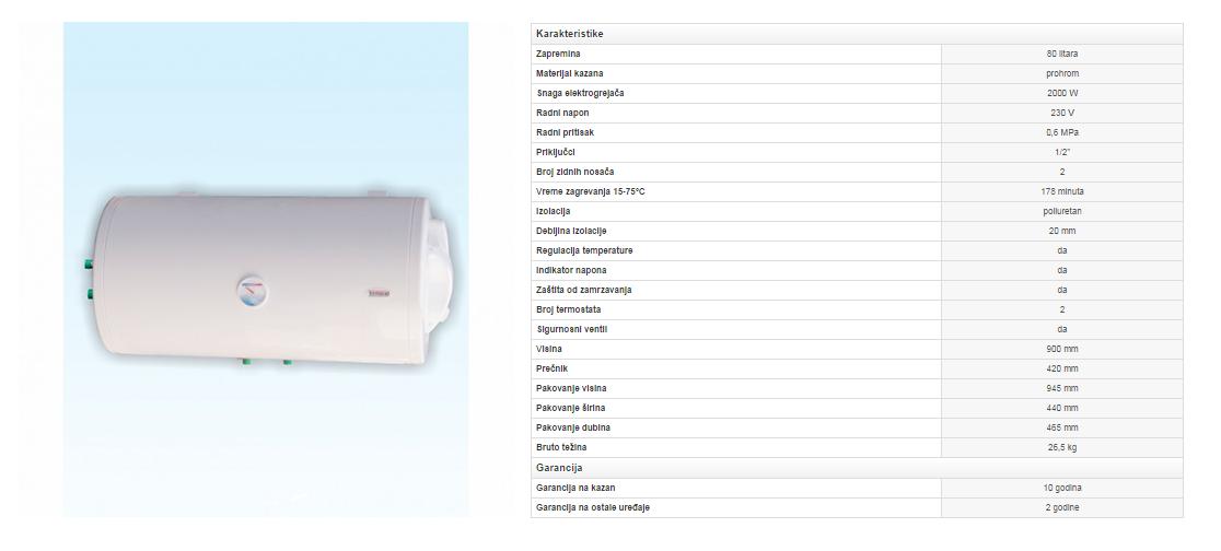 2. Prohromski bojler 80 litara horizontalni sa izmenjivačem toplote (zid)