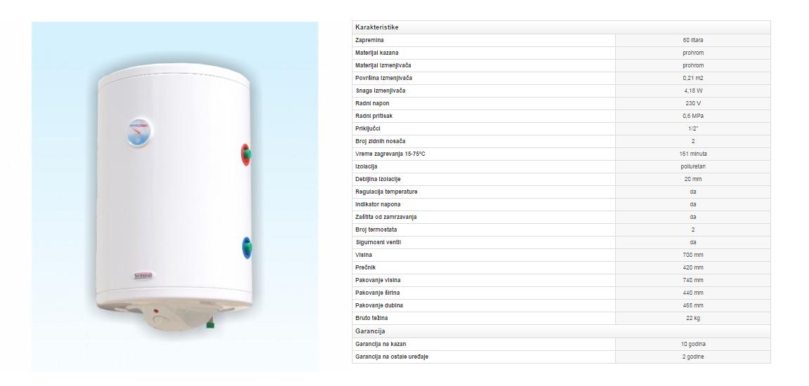 4. Prohromski bojler 60 litara sa izmenjivačem toplote (desni)