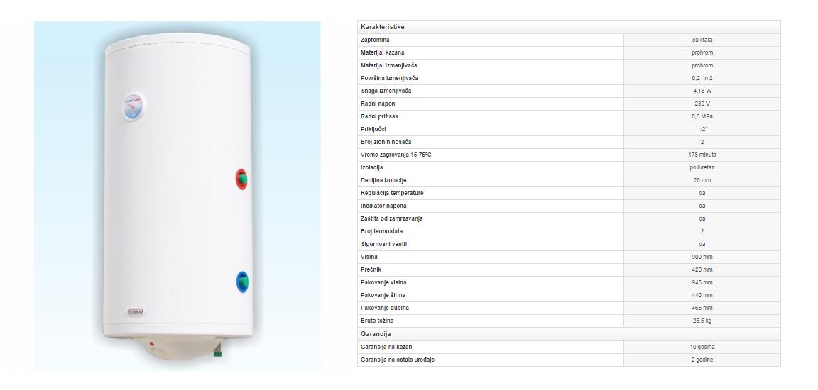 6. Prohromski bojler 80 litara sa izmenjivačem toplote (desni)