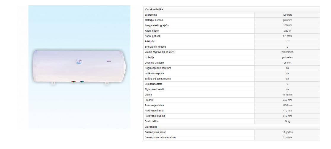 8. Prohromski bojler 120 litara (plafon)