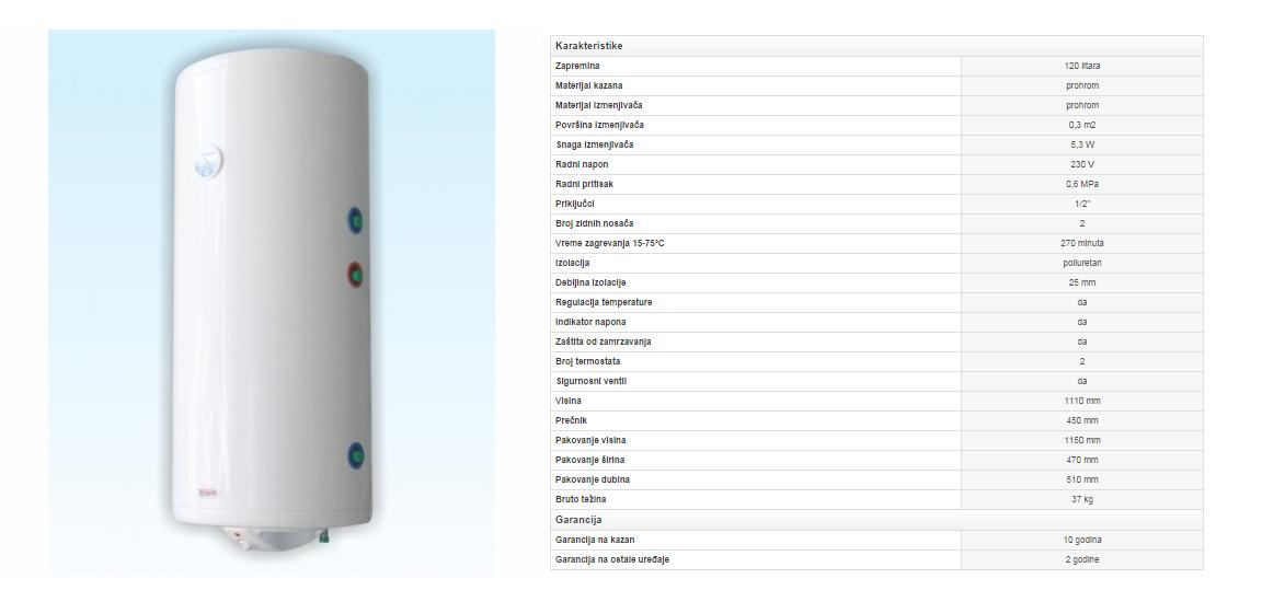 8. Prohromski bojler 120 litara sa izmenjivačem toplote (desni)